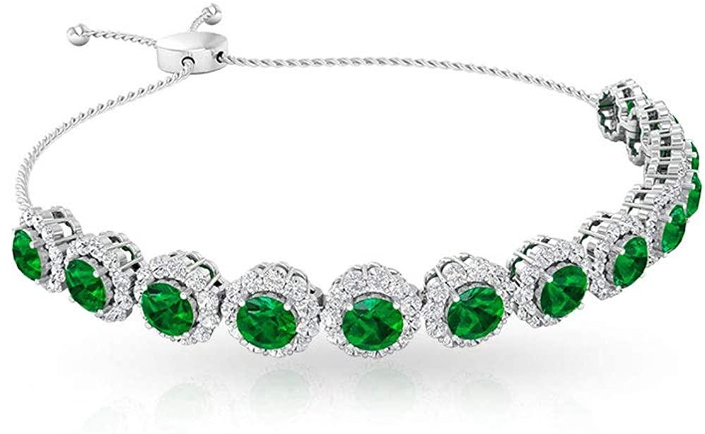 Women 5.65CT Round Emerald Certified Diamond Halo Bolo Bracelet, Antique Bridal Wedding Stackable Bracelet, May Birthstone Mother Anniversary Bracelet 10K