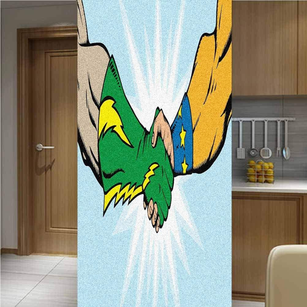 Poppy Ramsden Superhero 3D Decorative Window Vinyl Glass Film,One Piece 48x78,Heroes Handshake Teamwork Togetherness Friendship Partners Success Artful Concept Glass Window Decors for Glass