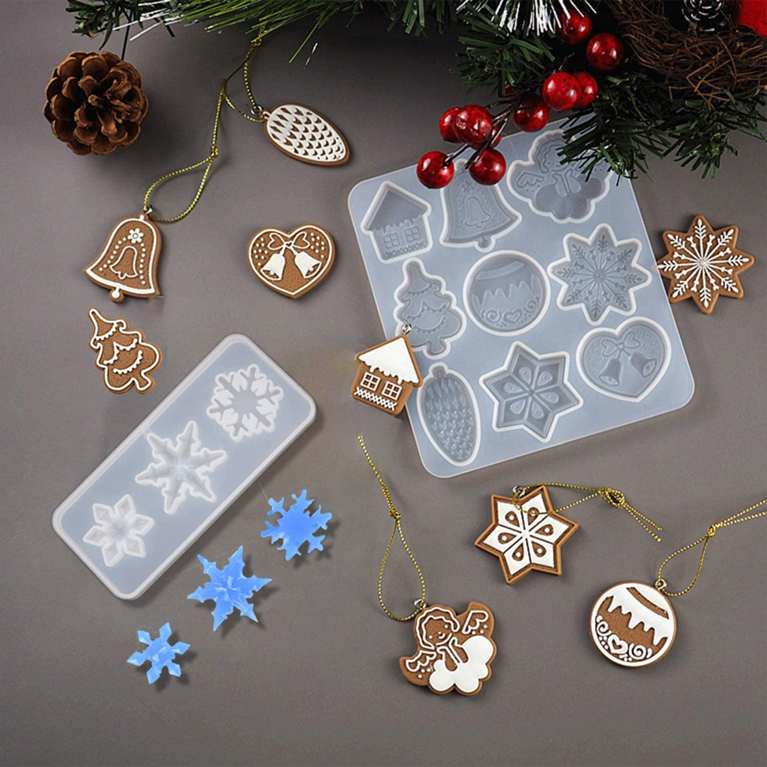 Christmas Ornament Silicone Molds, DIY Resin Crystal Epoxy Molds Christmas Tree Snowflake Elk Pendant Keychain Listing Jewelry Silicone Molds Set(2 Pack)