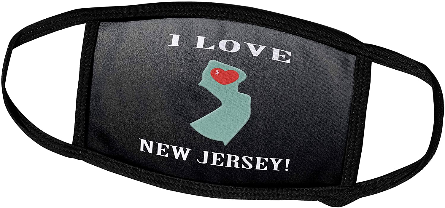 3dRose Beverly Turner I Love - I Love New Jersey with Heart on State, Green, Gray, White, and Red - Face Masks (fm_233571_1)