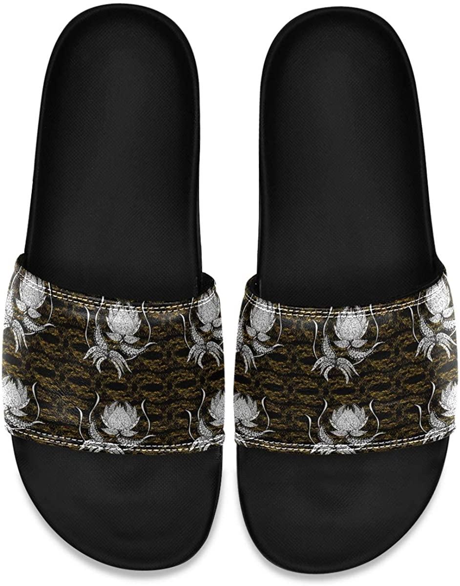Golden Pattern On Yellow and Beige Mens Indoor Outdoor Bedroom Slippers Adjustable Sandals