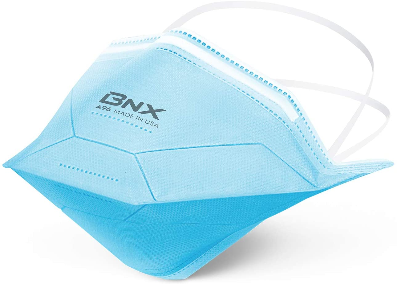 BNX Protective Face Mask, Tight Fitting, Upgraded Nose Wire, Disposable Particulate Mask Made in USA, Protection Against Dust, Pollen and Haze (5 Pack)(Headband, S/M)