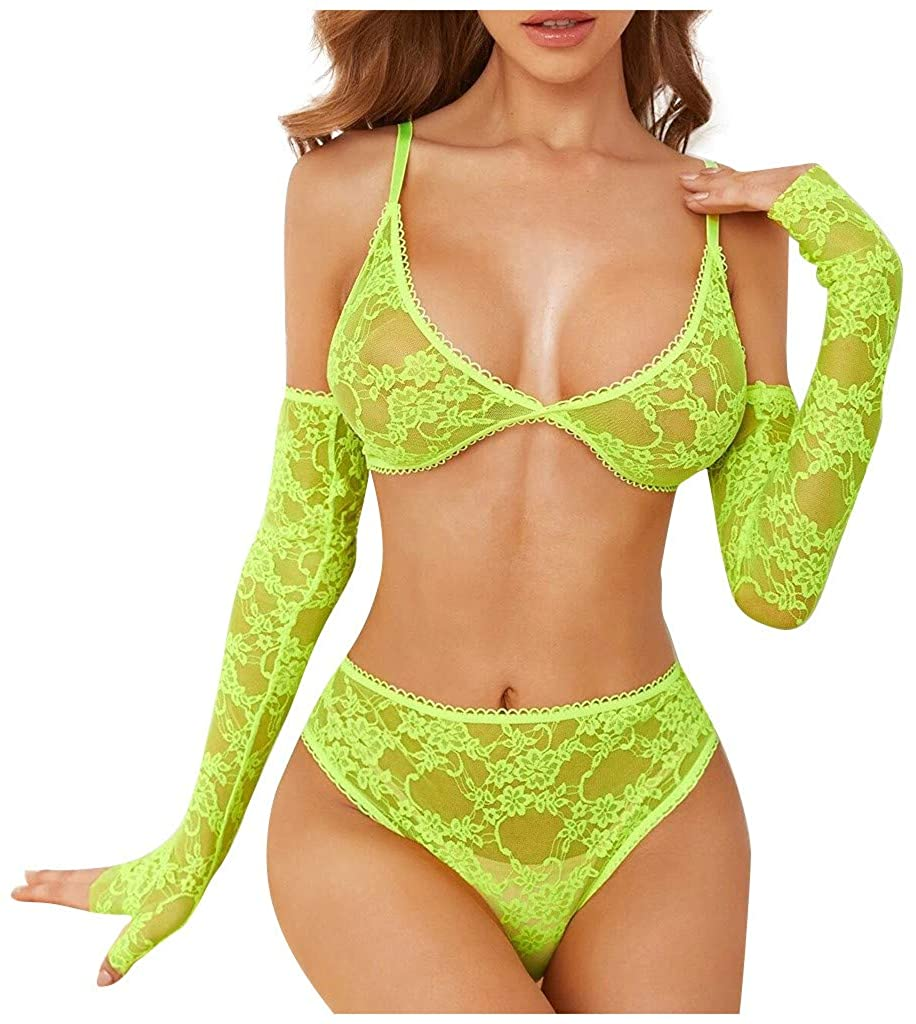 2020 Women's Sexy Lingerie Set with Lace Sleeves Hollow Bra and High Waist Underwear