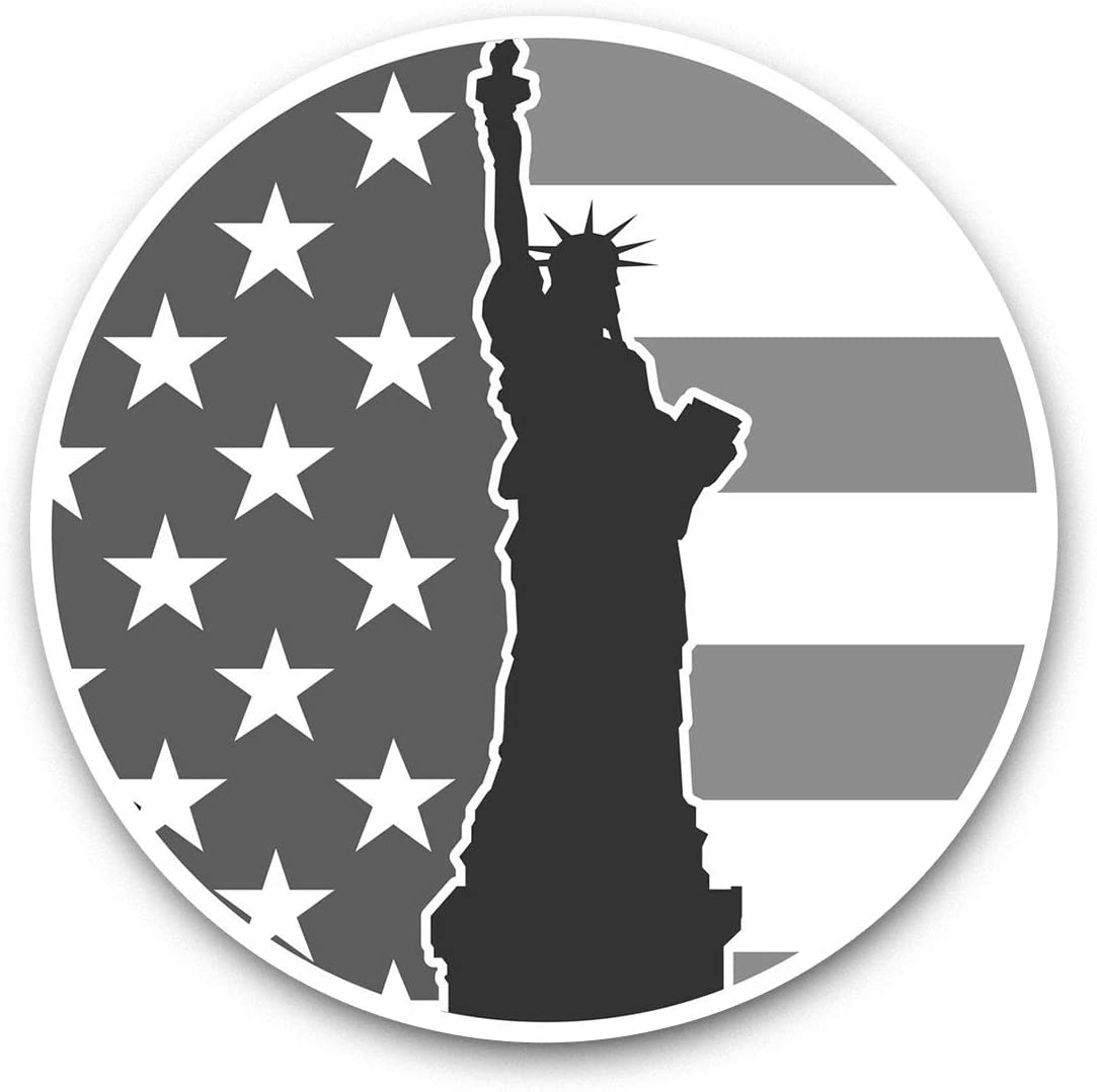 Awesome Vinyl Stickers (Set of 2) 7.5cm (bw) - New York USA Statue of Liberty Fun Decals for Laptops,Tablets,Luggage,Scrap Booking,Fridges,Cool Gift #39876