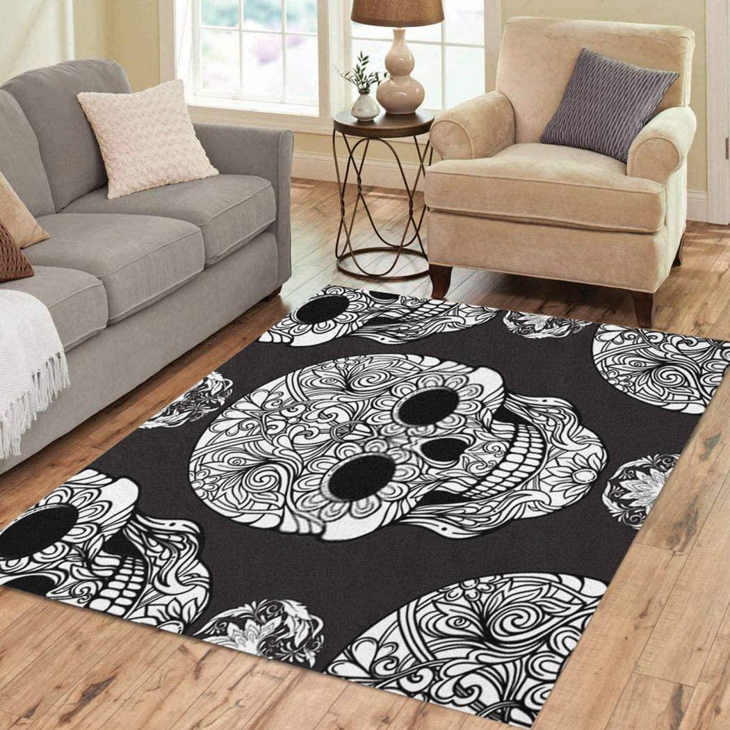 Joaffba Area Rug Seamless Pattern Background Sugar Skull Floral Black White Stock 3' X 5' Super Soft Plush Home Decor Non Slip Floor Carpet for Bedroom Living Dining Room Artwork