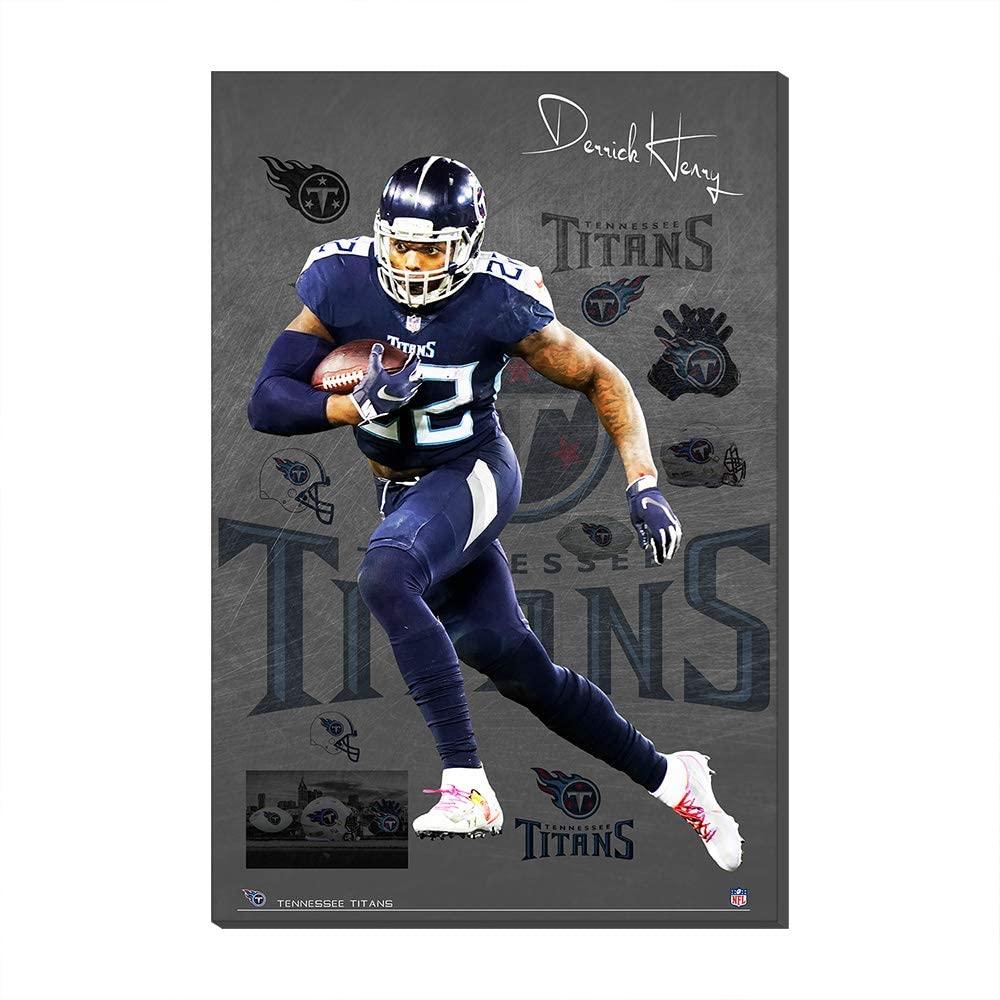NFL SuperBowl WallPosterCanvasPrintsTennessee Titans Derrick Henry HelmetWallPosterCanvasPrints Fans Gift (No Frame,50x70cm)