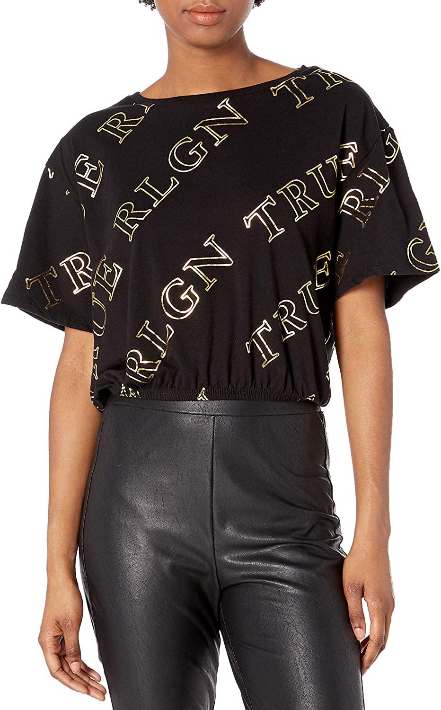 True Religion Women's Monogram True Rlgn Crewneck Cropped Tee