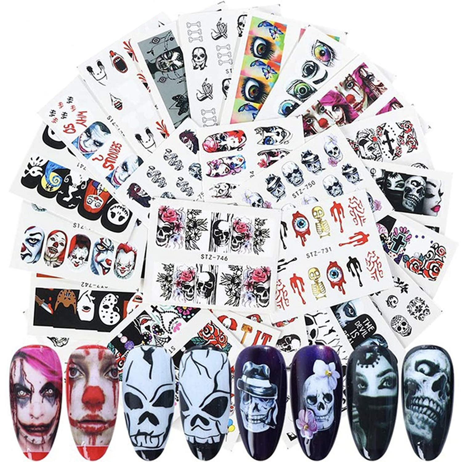 SisterAling(24Pcs) Halloween accessories Nail Art StickersNail Art Stickers etc Colorful Transfer Watermark Nail Stickers for Nails Design Manicure Tips Deco