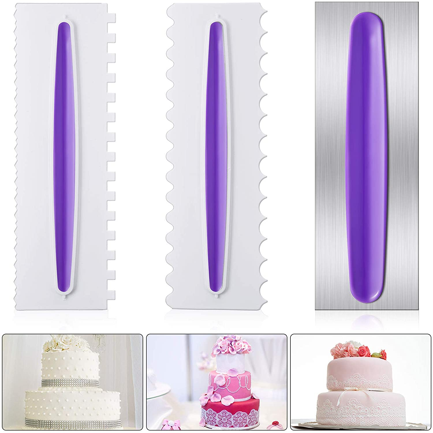 3 Pieces Cake Scraper Cake Decorating Comb Set, Stainless Steel Icing Smoother Comb Plastic Cake Edge Side Smoother Decorating Tools Cream Scraper for Mousse Butter Cream Cake Decoration