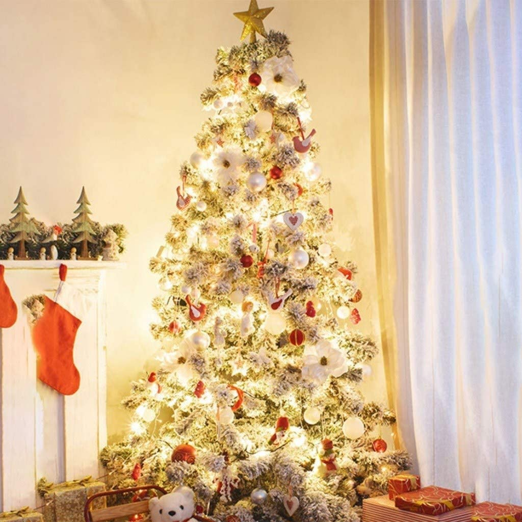 LIUSHI Xmas Trees Christmas Tree Package 3.9FT/4.9FT/5.9FT/6.9FT/7.9FT/9.8FT/11.5FT, Flocking White Snowy Fir, Christmas Decoration Ornaments (Color : Set-2, Size : 2.4M)