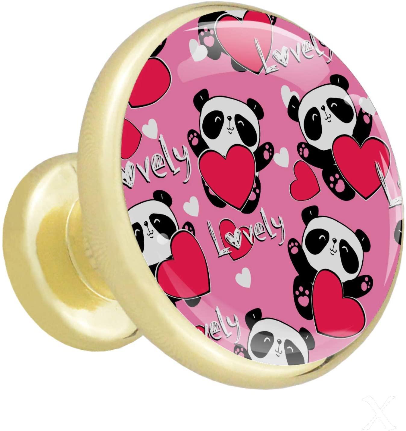 Lenergy Drawer Knobs Cartoon Cute Panda Furniture Drawer Pull Knob Cabinet Kitchen Handle Kids Bedroom Cabinet Dresser Knobs Pulls Pack of 4 1.26x1.18x0.66in
