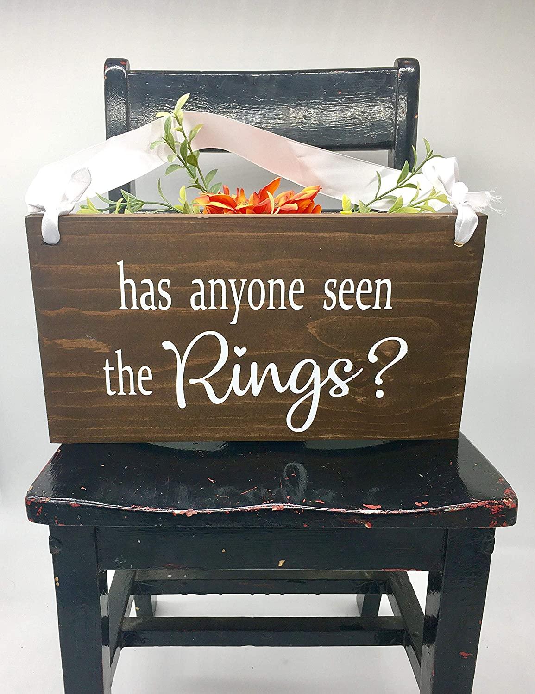 43LenaJon Has Anyone Seen The Rings Ring Bearer Sign Rustic Wedding Decor Flower Girl Sign Wood Wedding Sign,Hanging Wood Door Sign Decor