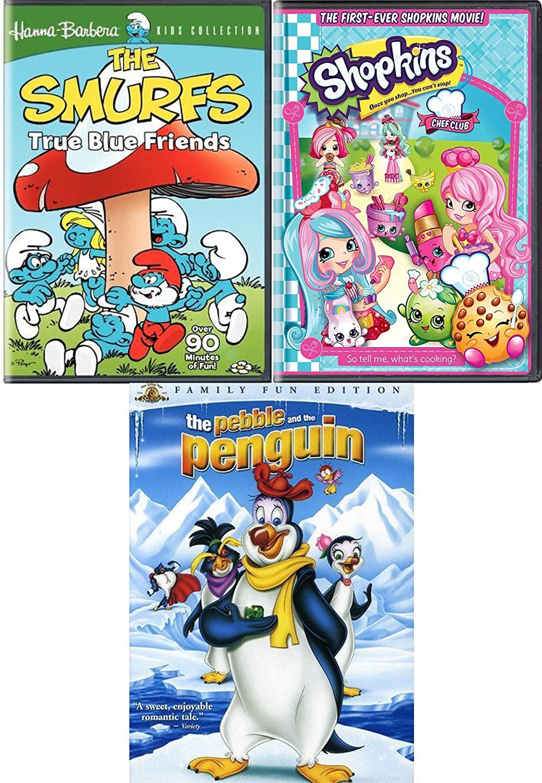 Extraordinary Pals chef Club Shopkins + True Blue Friends The Smurfs & The Pebble & The Penguin Triple DVD Cartoon Kids Pack