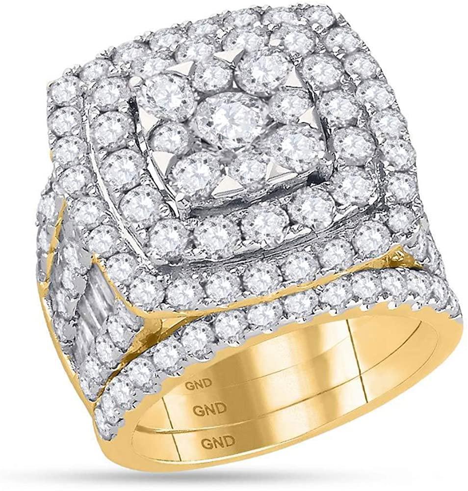 14kt Yellow Gold Womens Round Diamond Bridal Wedding Engagement Ring Band Set 6.00 Cttw