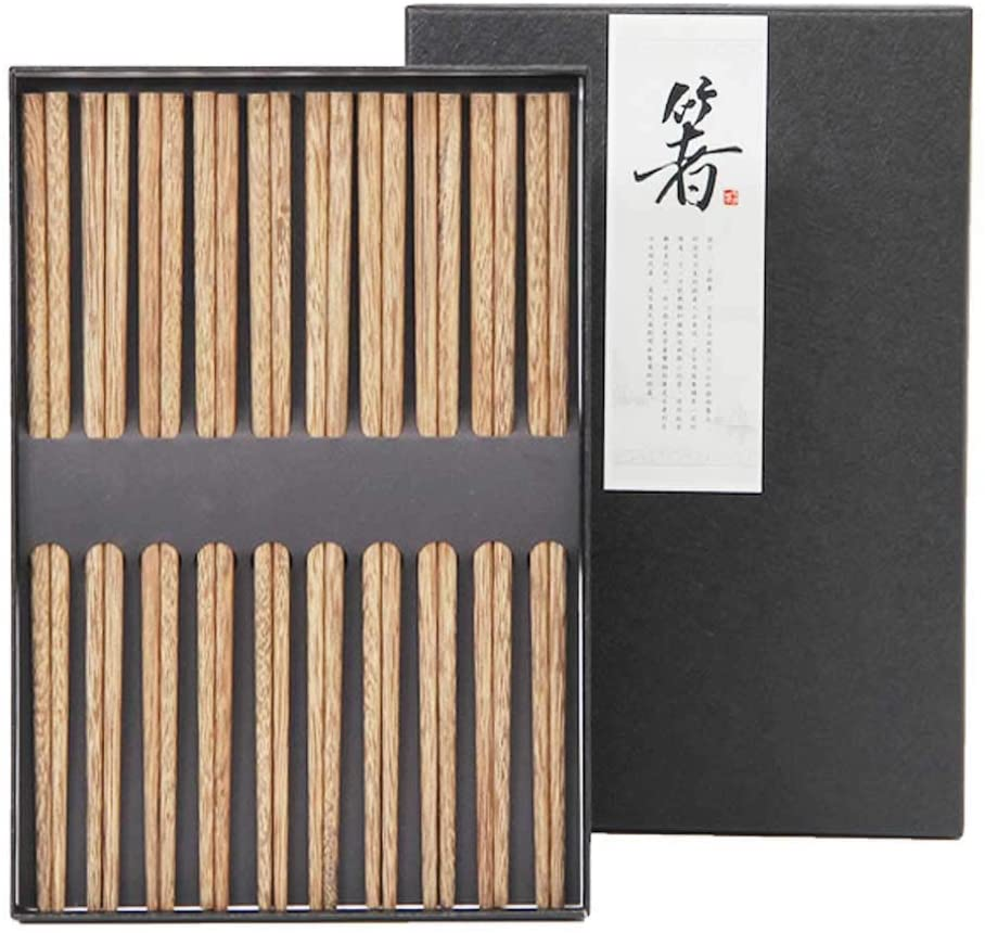Chopsticks Reusable Chinese Style Natural Wood Chopstick Cooking Weight Loss Natural Healthy Used for Family Hotel Restaurant Hot Pot Gourmet Noodles 5 Pairs Gift Set (Chopstick - 5Pairs)