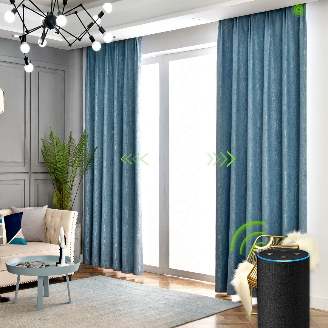 Yoolax Motorized Electric Blackout Curtain Texture Thermal Insulated Drapes Compatible with Alexa and Google Home Remote Control Smart Curtain Customized (Blue, W156XH95(Cover Area))