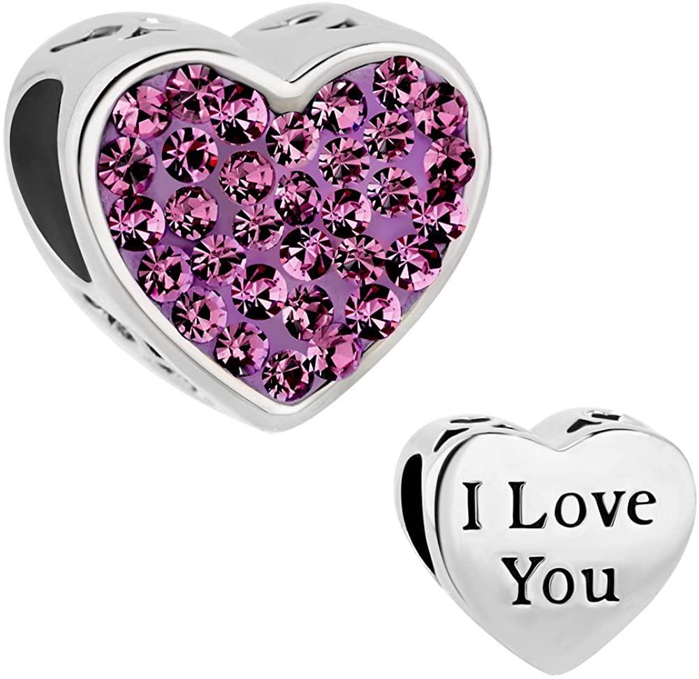 LuckyJewelry Heart I Love You Charms Swarovski Element Birthstone Crystal Sale Beads Fit Bracelet