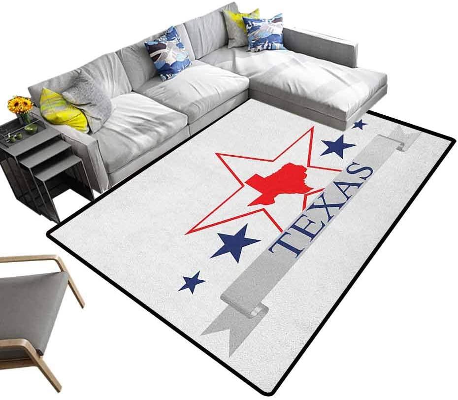 Shag Throw Rug Texas Star, Modern Abstract Area Rug San Antonio Dallas Houston Austin Map with Stars Pattern USA for Living Room Kids Room Home Decor Navy Blue Vermilion Pale Grey, 7 x 7 Feet