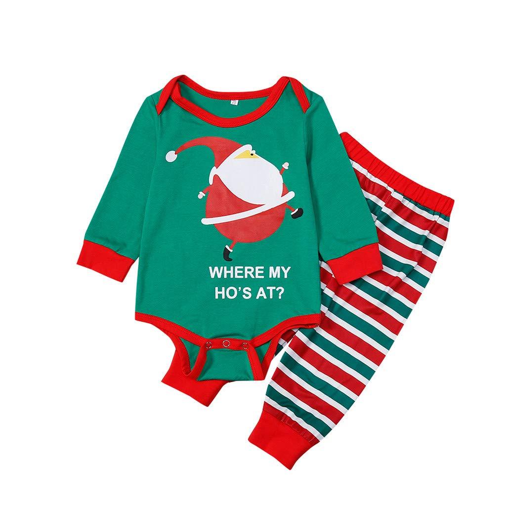 Christmas Pajamas Family Elf Green Santa Claus Christmas Clothes Suit 2-Piece T-Shirt Pants Strip for Men Woman Children Neonatal Sleepwear Christmas House Pajamas Set