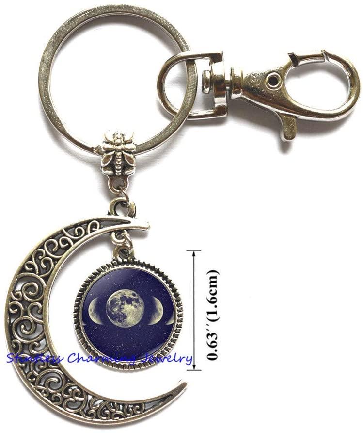 Full Moon Moon Keychain, Full Moon Key Ring, Full Moon Jewelry, Full Moon Charm-JV170