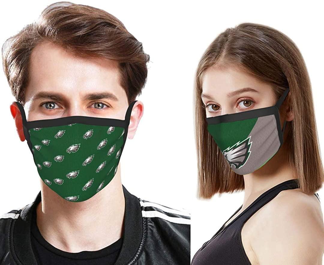 American Football Theme Pattern Face Masks, Comfortable/Reusable/Washable(2Pcs)