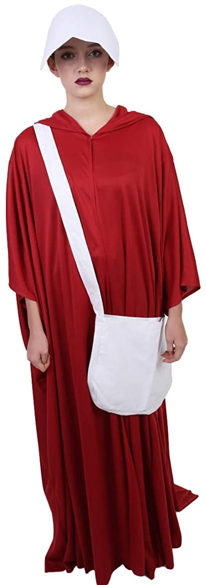 Women's Red Robe Handmaid Costume with Bag and Bonnet, Red HC-246
