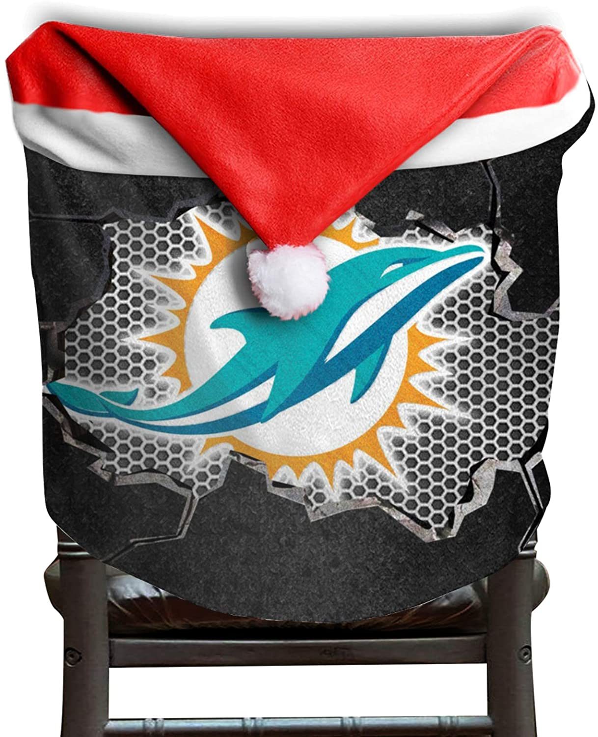 Sneakersssa Miami Football Dolphin Christmas Chair Seat Back Covers Santa Hat Chair Covers for Xmas Holiday Christmas Party Festive Decoration Red