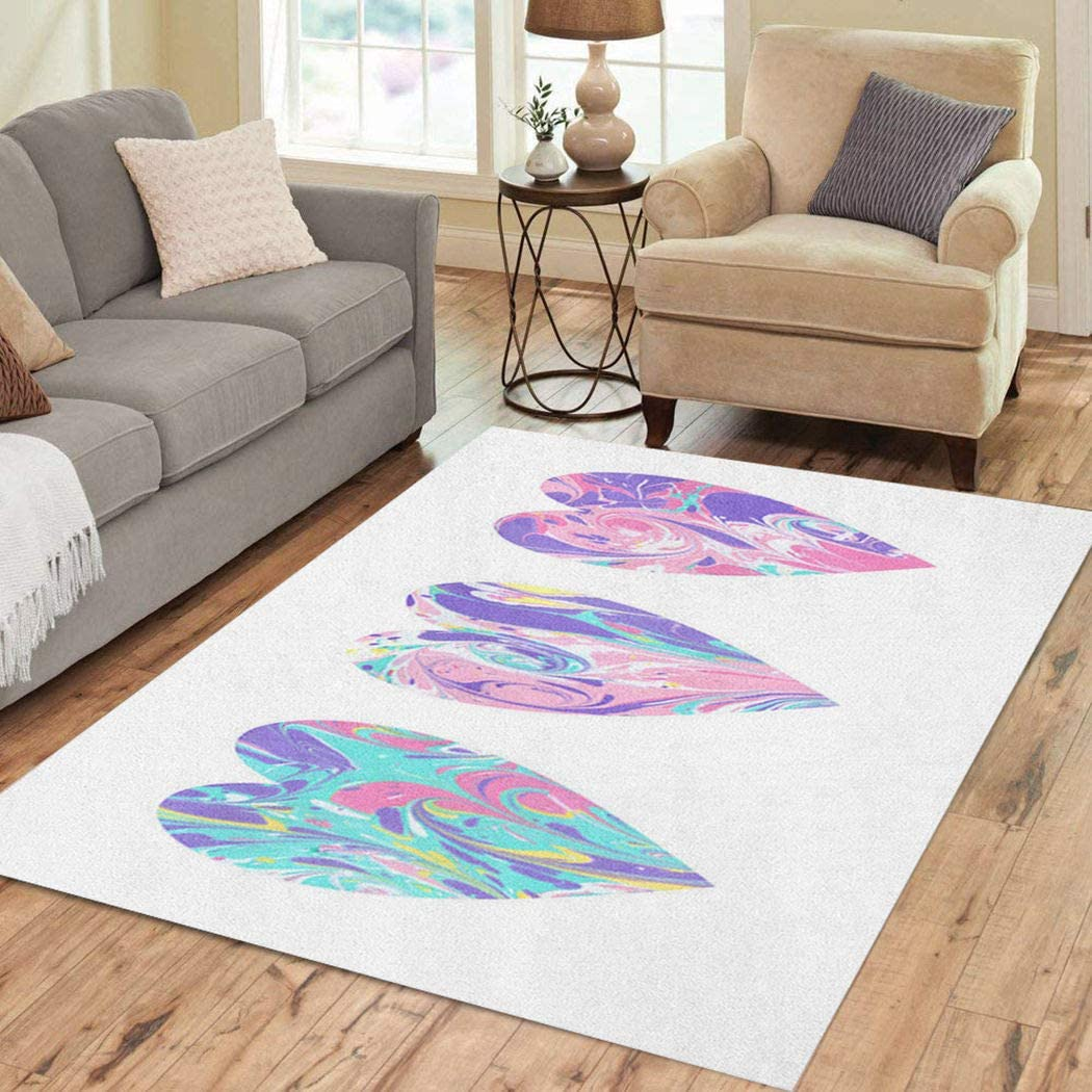 Joaffba Area Rug Turkey Party Abstract Colorful Hearts Ebru Paints Pattern Marbles Effect 2' X 3' Super Soft Plush Home Decor Non Slip Floor Carpet for Bedroom Living Dining Room Artwork