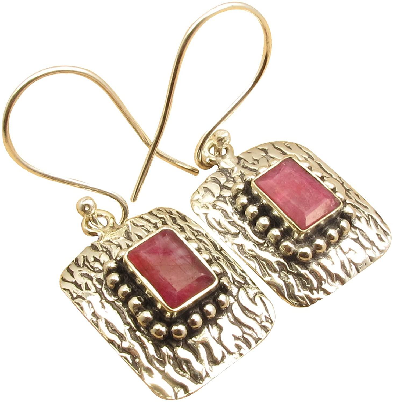 925 Sterling Silver Plated BAGUETTE RUBY July Birthstone Bridal Earrings 1.5