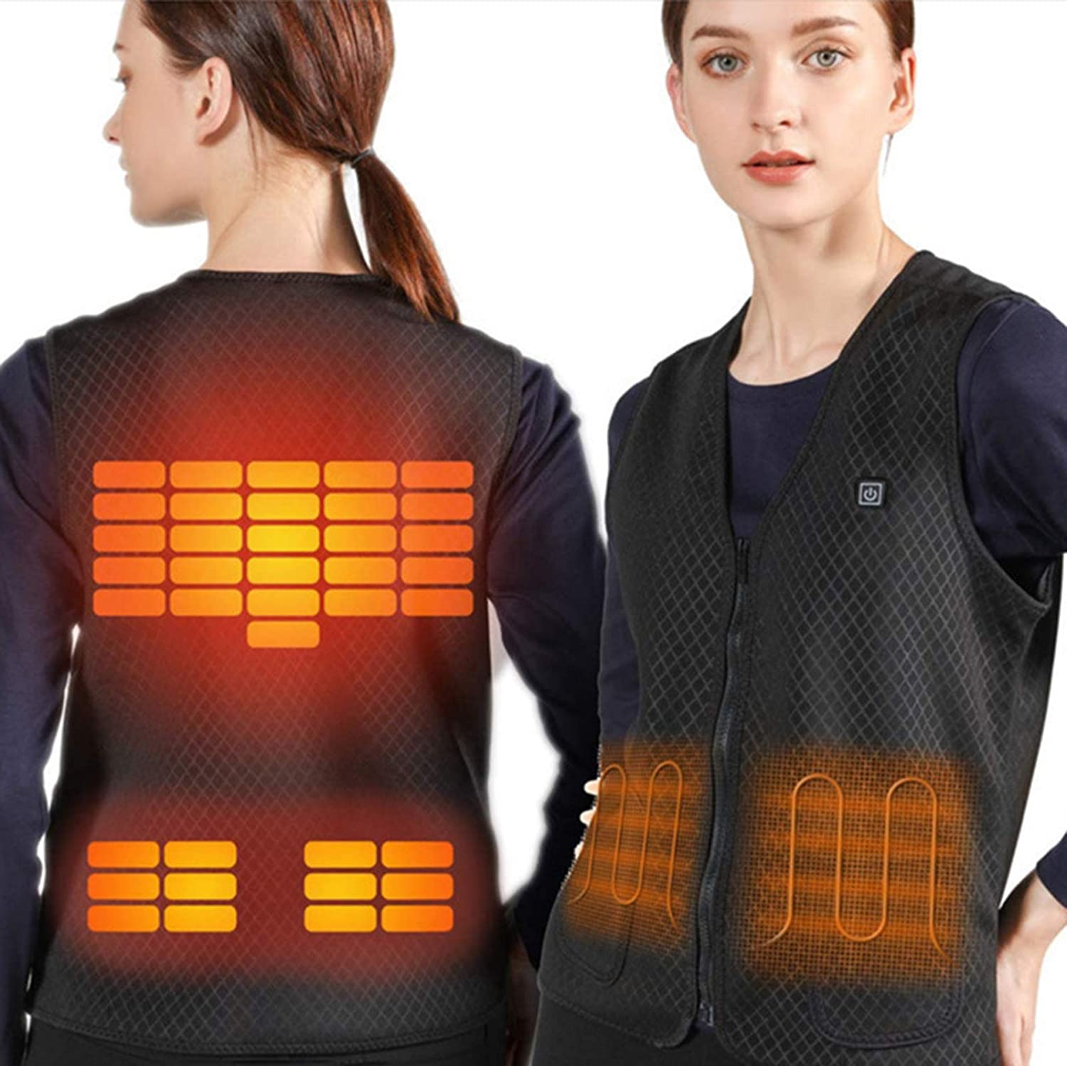 Zobir Electric Heating Vest for Man/Woman,Washable USB Charging Heated Jacket Winter Warm Jacket,for Winter Outdoor Activity Hiking Hunting Fishing Camping