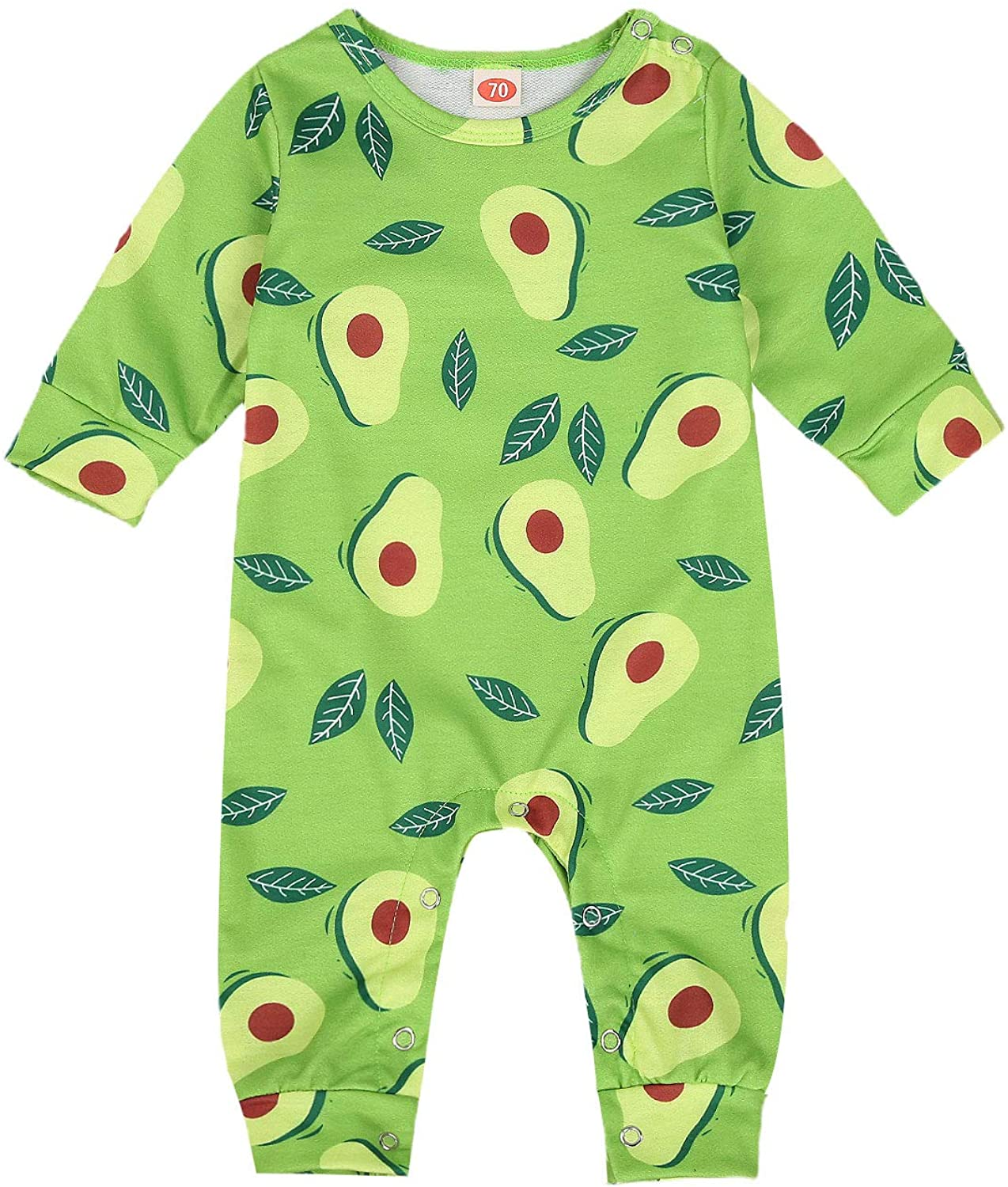 BroStrongwn Newborn Boy Baby Girl Clothes Infant Avocado Sleeveless Romper Jumpsuit Bodysuit Sunsuit Outfits