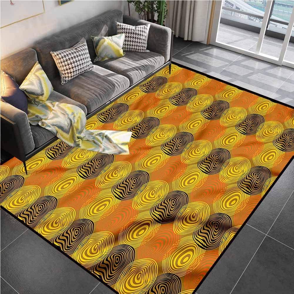 Area Rug Print Large Rug Mat Retro,Bulls Eye Pattern Circular Rug pad for Living Playing Dorm Room Bedroom 6'x8'
