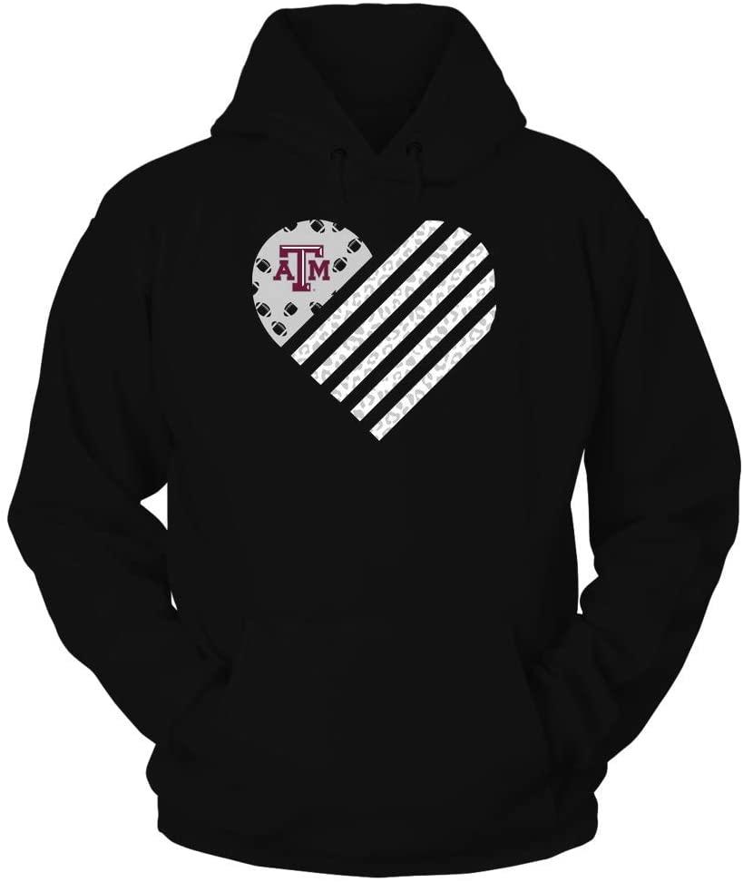 FanPrint Texas A&M Aggies Hoodie - Football - Leopard Flag - Heart - Hoodie/Black/L