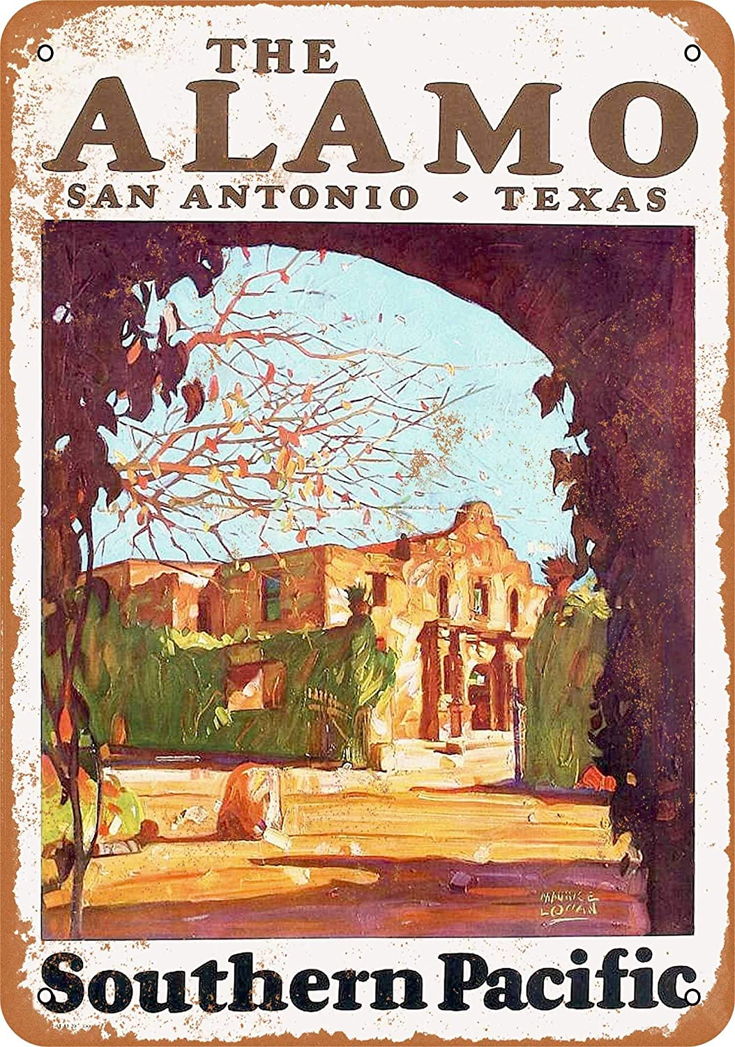 Tamengi 7''x10''Metal Sign 1929 Southern Pacific Railroad to The Alamo San Antonio Texas Vintage Look Made in USA