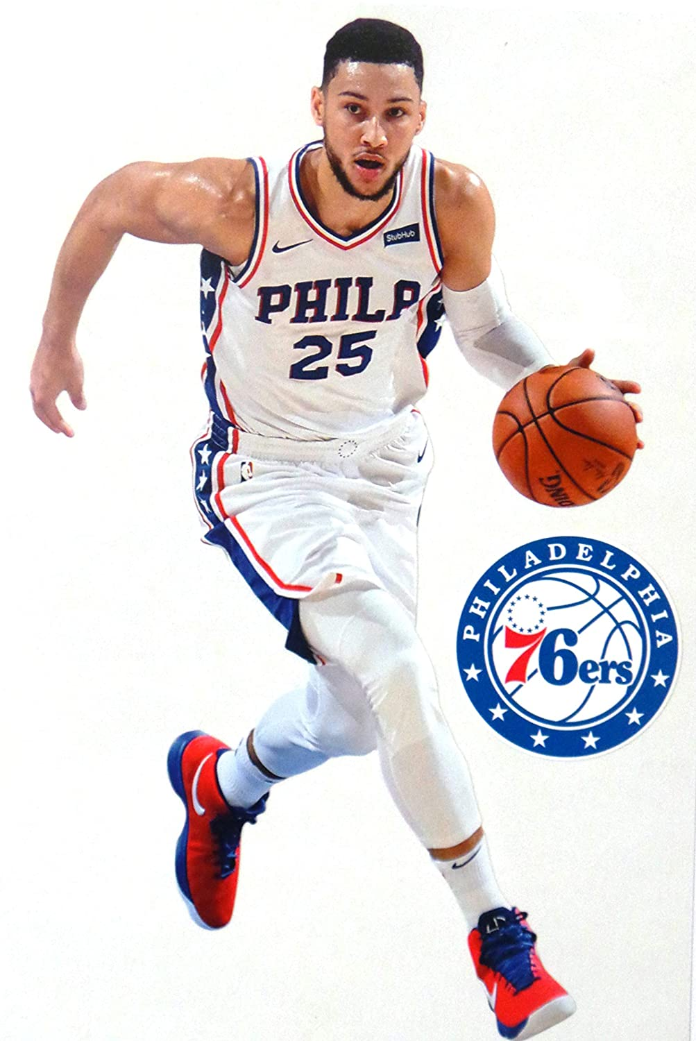 FATHEAD Ben Simmons Mini Graphic + Philadelphia 76ers Logo Official NBA Vinyl Wall Graphics - This Player Decal is 7