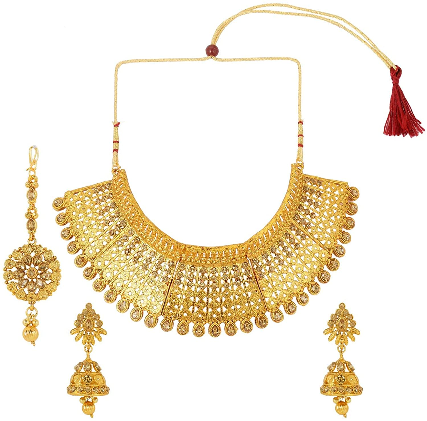 Efulgenz Indian Bollywood Traditional 14 K Gold Plated Crystal Pearl Wedding Temple Choker Necklace Earrings Maang Tikka Jewelry Set