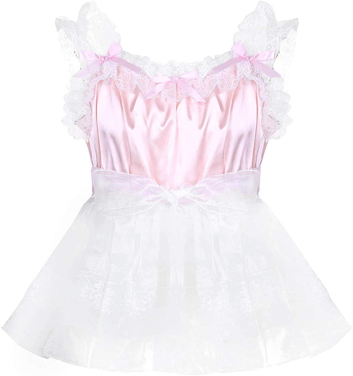 renvena Mens Adult Sissy Crossdressing Lingerie Satin Frilly Baby Doll Slip Dresses Nightwear Pajamas