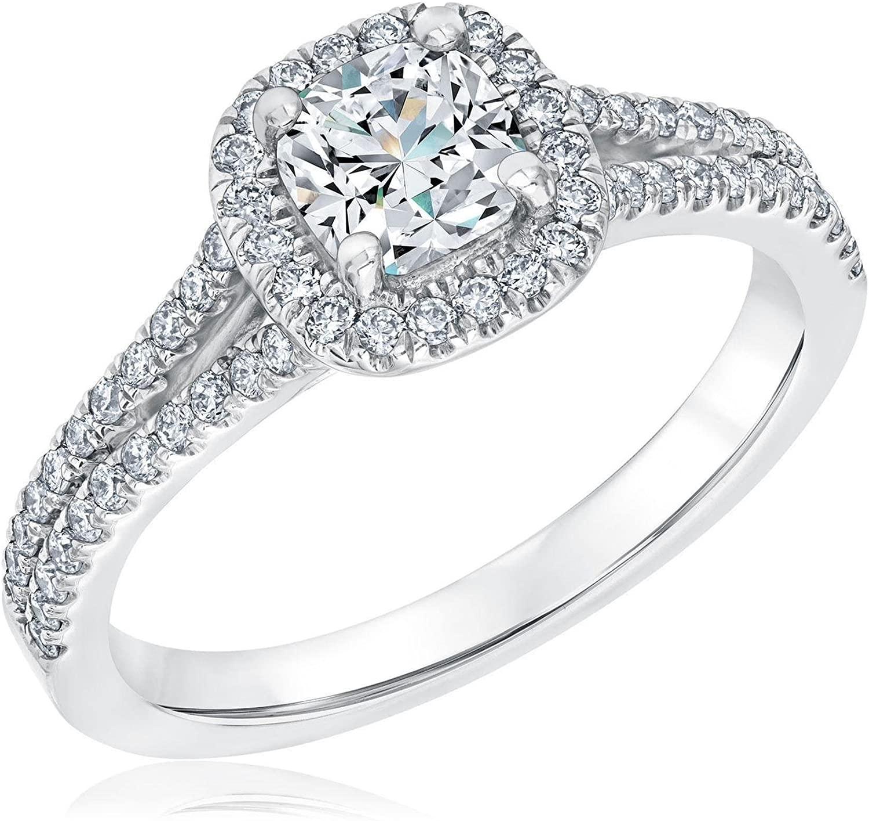 Exclusive REEDS Signature Cushion Diamond Halo Engagement Ring 1ctw