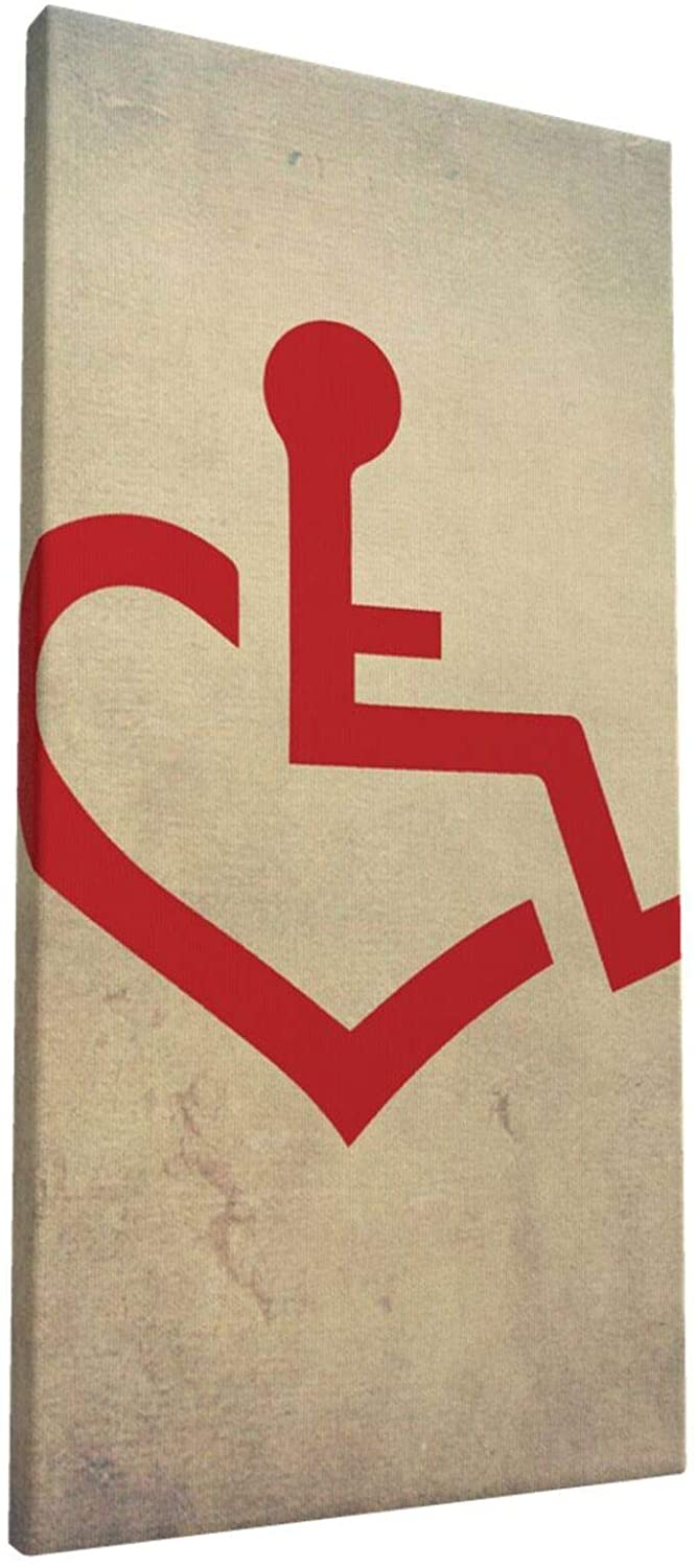 8x16 Inch Wall Art wheelchair bound love heart Painting on Canvas for Bedroom Home Decorations Wall Decor