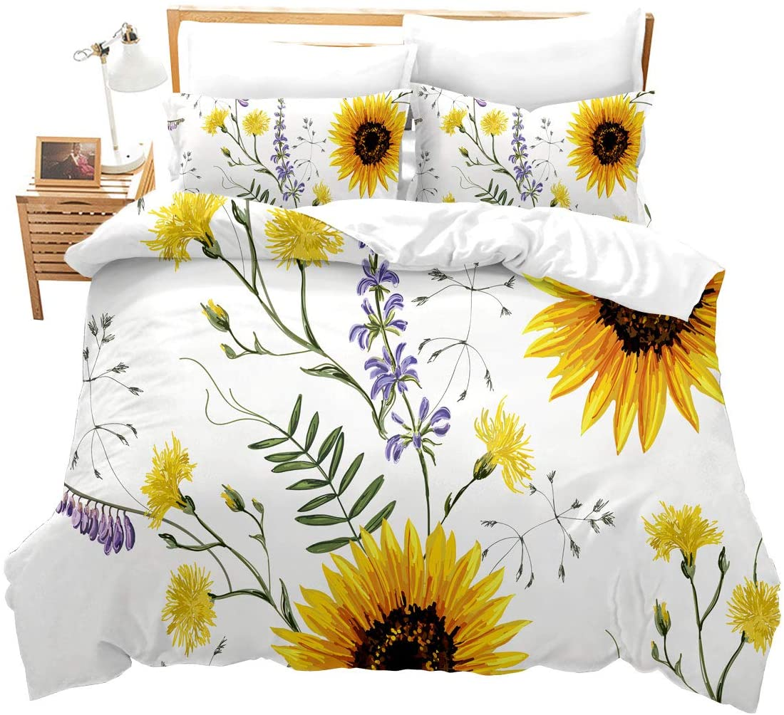 Feelyou Sunflower Duvet Cover Set Queen Size 3D Print Bedding Set Stylish Decor Pastoral Comforter Cover with 2 Pillowcases Blossom Flowers Ultra Soft Microfiber Zipper 3 Pcs Novely Floral Branches