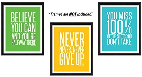 Home Wall Art Decor of Positive Famous Quotes for Teen Boy Girl | Motivational and Inspirational Unframed Posters Signs Prints Photos Pictures Sayings and Phrases (8 x 10 Mixed)