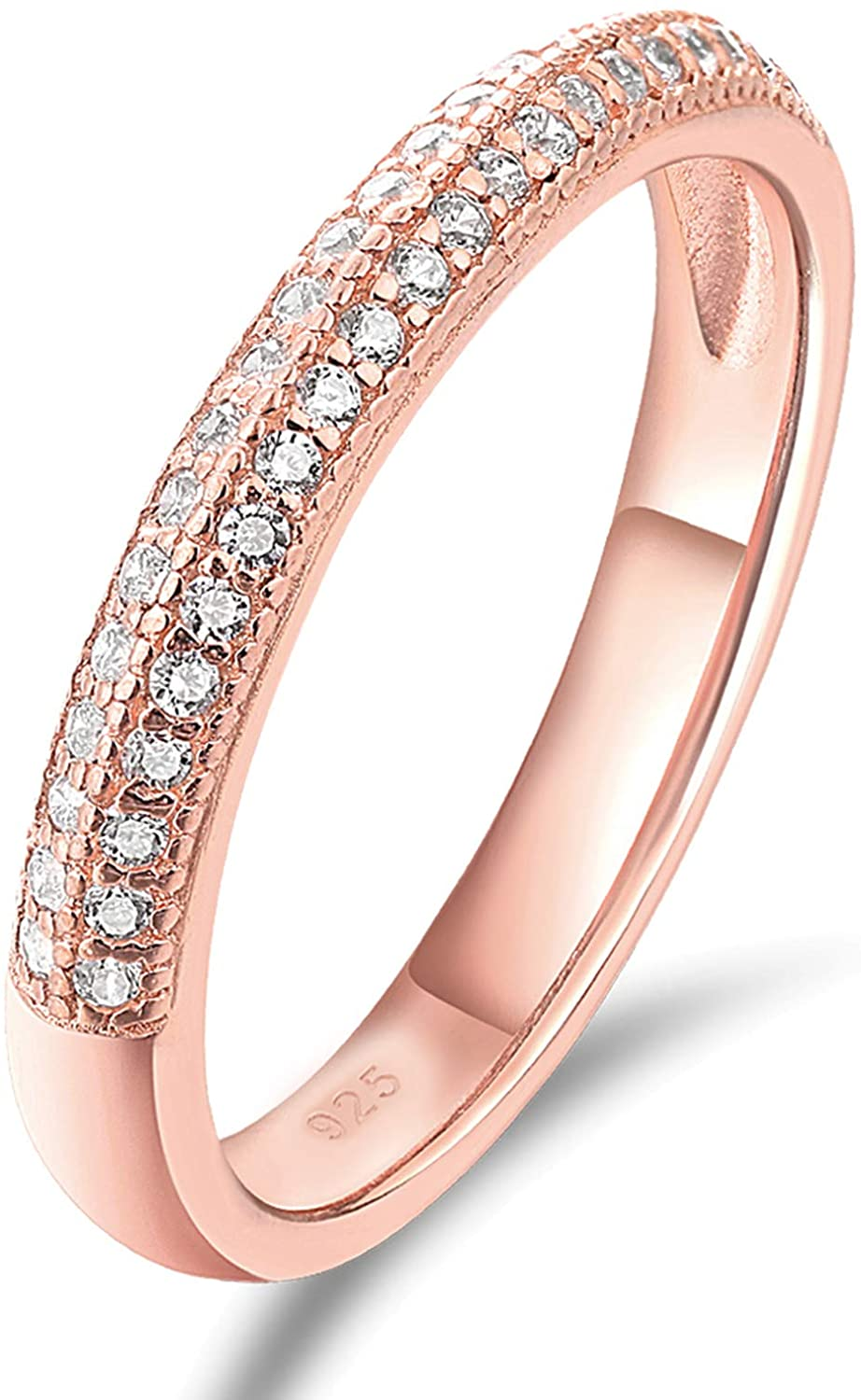 AHLOE JEWELRY Rose Gold Etenity Rings for Women 925 Sterling Silver Stacking Engagement Wedding Bands Cz Size 5-10