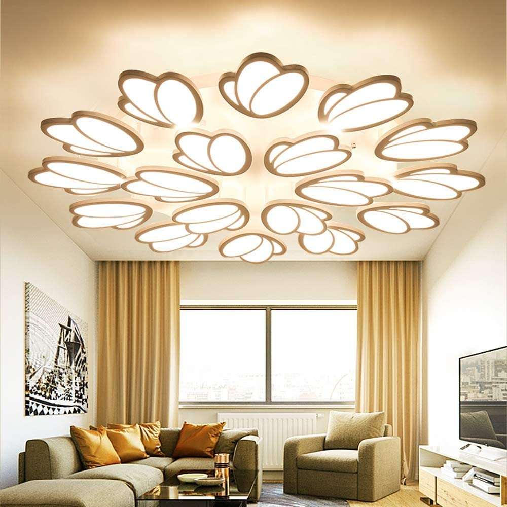 MKKM Ceiling Spotlight- Led Dimmable Ceiling Light Ceiling Lights Ceiling Lighting Living Room Lamp with Remote Control White Iron Metal Acrylic Lamp Shade Lamps Dining Room Bedroom Luminaire Office