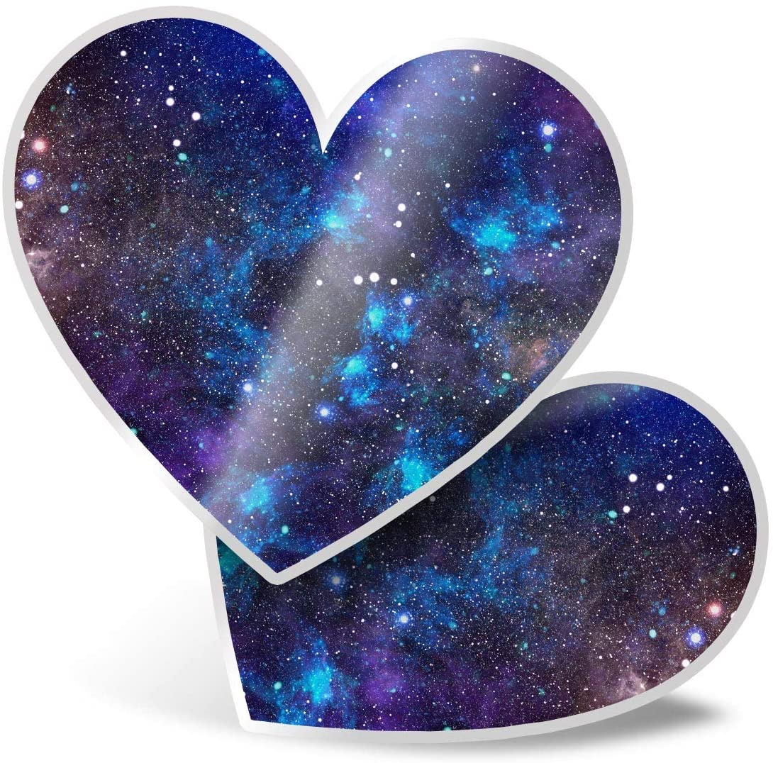 Awesome 2 x Heart Stickers 7.5 cm - Blue Solar System Space Star Art Fun Decals for Laptops,Tablets,Luggage,Scrap Booking,Fridges,Cool Gift #13249