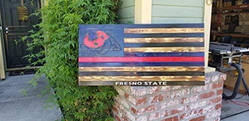 NOT BRANDED Fresno State College Bulldogs Wood Flag Printed Stars School Spirit Rustic Sign Gift Dorm Decor Football Sports Logo Distressed Burned
