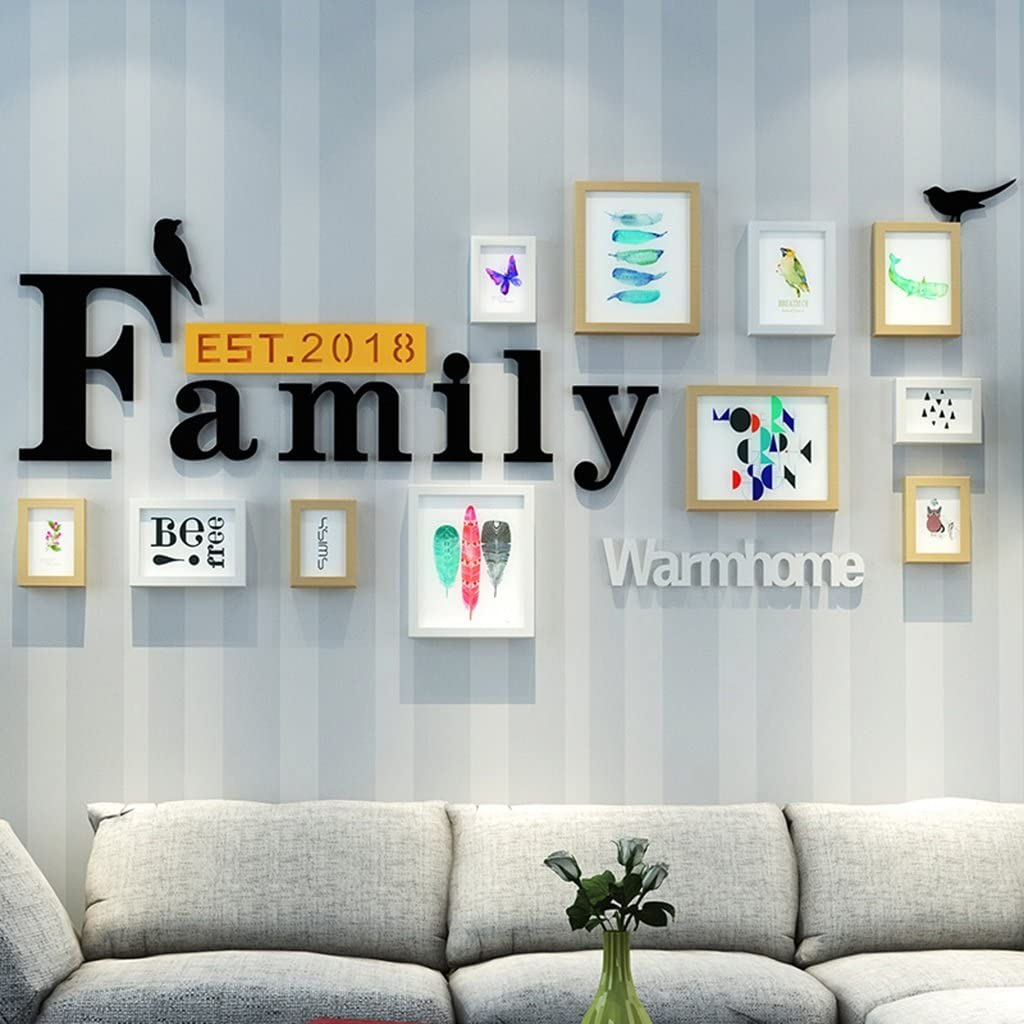 LANNA SHOP- Multi Picture Frame Set, Large Wall Photo Decoration combination With 11 Frames and Acrylic Letter, Covers 184cmx86cm