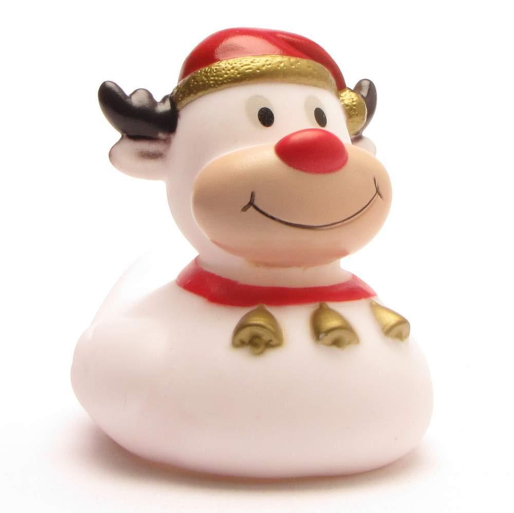 DUCKSHOP | Rubber Duck Reindeer - White | Bathduck | L: 8,5 cm
