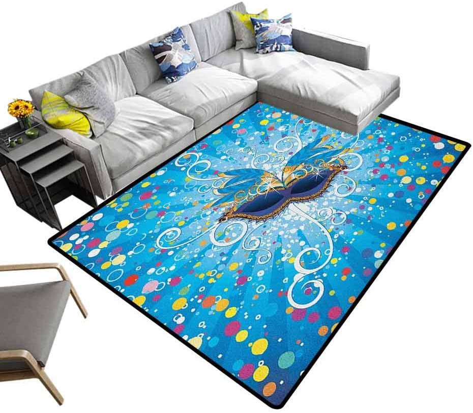 Rug Pad Mardi Gras, Modern Area Rug with Non-Skid Blue Backdrop with Colorful Dots Spots and Carnival Mask with Stylized Swirls Modern Durable Low Pile Fashionable Multicolor, 6.5 x 10 Feet