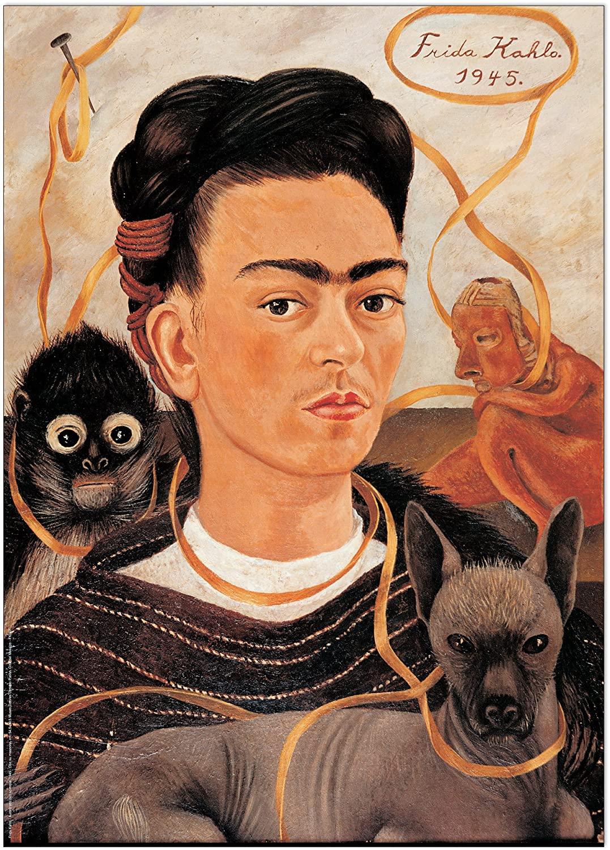Artopweb Frida Kahlo-Autoritratto Con Scimmia (Decorative Panel 19.5x27.5 inches), 19.5 x 27.5