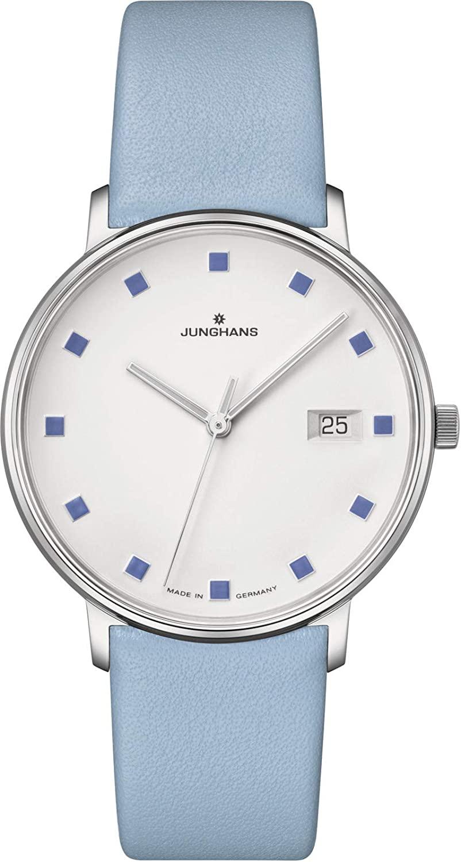 Junghans Form Damen Quartz Matt Silver Wrist Watch | Leather Strap 047/4055.00